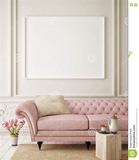 mock  blank poster   wall  hipster living room