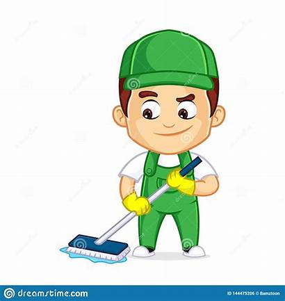Cartoon Cleaning Clipart Mascot Housekeeping Reinigungsservice Employee