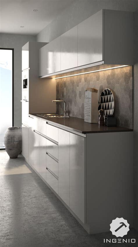 cocina moderna en melamine blanco brillante  tiradores de perfil de aluminio decoracion de
