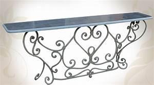 Console En Fer Forgé : grande console de style baroque en fer forg et pierre bleue ~ Teatrodelosmanantiales.com Idées de Décoration