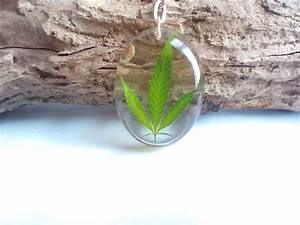 Keychain with real dried cannabis leaf by byRima on Etsy