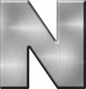 presentation alphabets brushed metal letter n With brushed metal letters