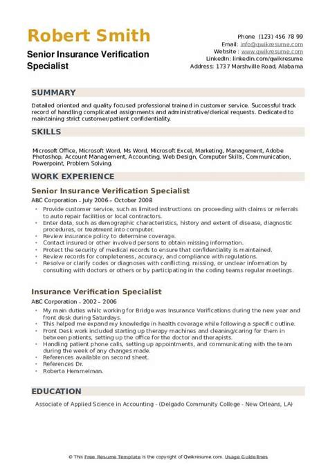 Find out what you should be paid. Insurance Verification Specialist Resume Samples | QwikResume