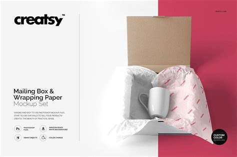 Free kraft paper shopping bag mockup (psd). Mailing Box & Wrapping Paper Mockup (With images) | Paper ...