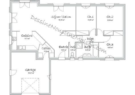 Extraordinaire Plan Maison 100m2 Plein Pied Plans De
