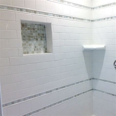 subway tile with mosaic accent bathroom bathroom decor