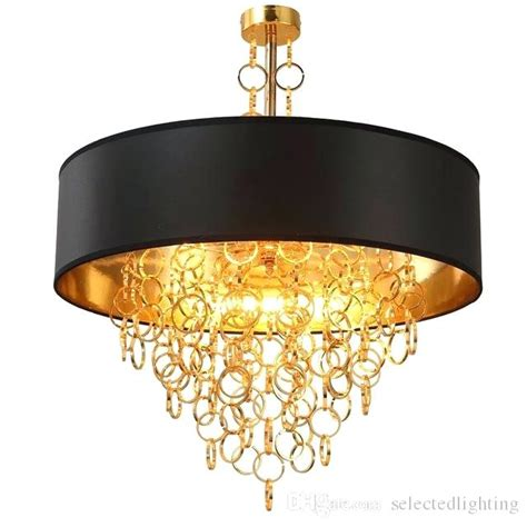 Chandelier With Black Shade And Drops by Black Drum Chandelier Design Decor Source