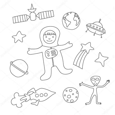 things 3 disegni da colorare set of baby items on the theme of outer space