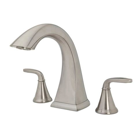 Brushed Nickel Tub Faucet by Pfister Pasadena 2 Handle High Arc Deck Mount Tub