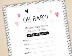 oh baby game baby shower cards and sign guess weight With guess the baby weight template