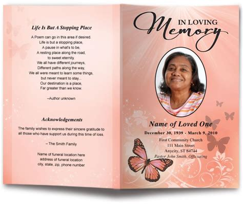 butterfly funeral program template  colors funeral