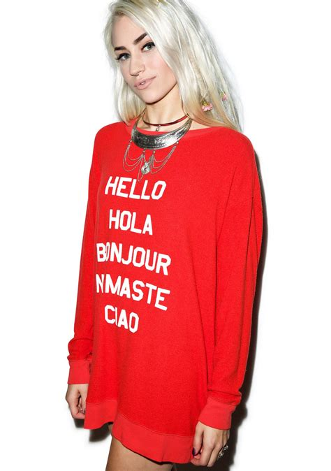 hello sweater wildfox couture say hello to everyone roadtrip sweater