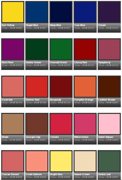 Krylon Spray Paint Colors For Cars Chart