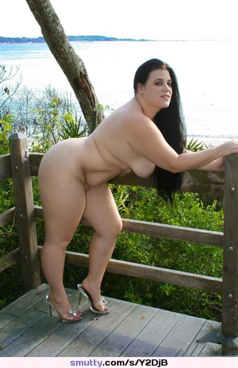 Bbw Chubby Blackhair Leaning Heels Stomach Outdoors