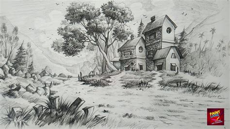 easy landscape drawings pencil   draw  shade