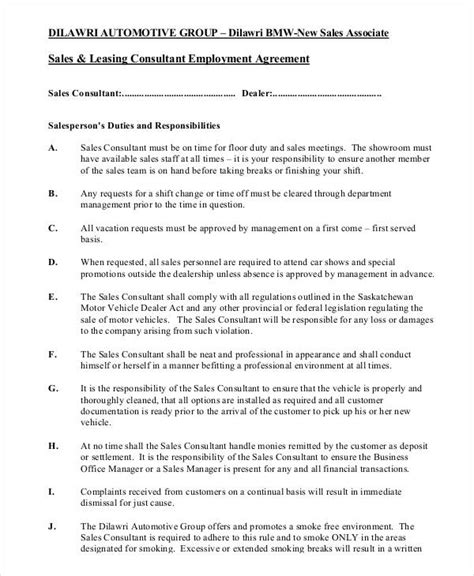Sales Consultant Contract Template by 32 Sales Agreement Form Template