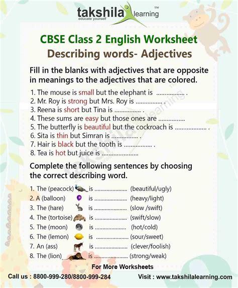 practice worksheet for class 2 english grammar adjectives