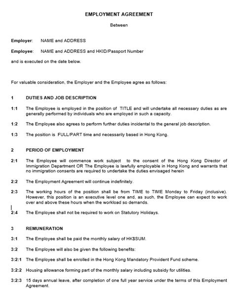20+ Free Employment Agreement Templates (General Purpose)