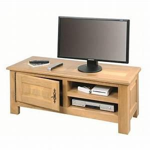 Meuble Tv En Chene : meuble tv 100 ch ne massif de france ~ Teatrodelosmanantiales.com Idées de Décoration