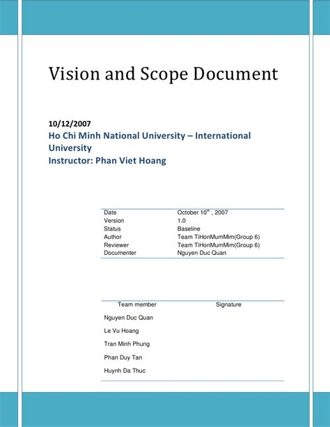 scope document vision and scope document