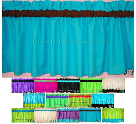 Aqua Valance by New Aqua Blue Valance W Black Or Brown Or Pink Or Green