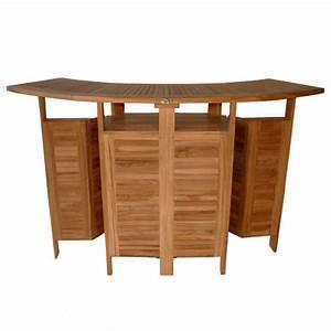 Bar Exterieur De Jardin : bar de jardin en bois de teck massif ovale et pliant 180cm ~ Dailycaller-alerts.com Idées de Décoration