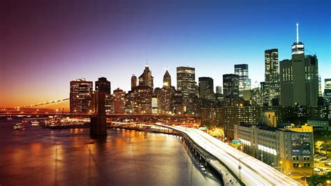 bridge and the lights of new york city