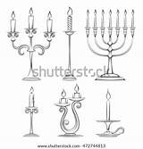 Candlesticks Candelabra Candlestick Vector Hand Drawn Sketch Drawing Template Menorah Drawings Shutterstock Meaning Coloring Illustration Dream Background sketch template