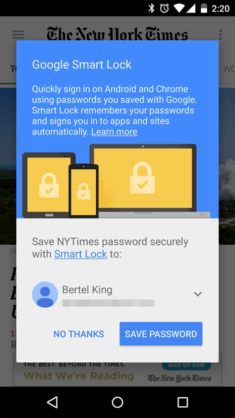 nytimes app for android nytimes app updated with support for smart lock logins