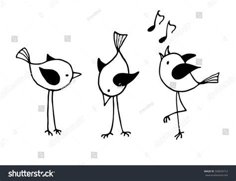 Three Funny Cartoon Birds. Vector Black And White