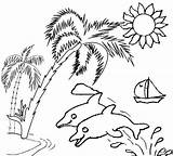 Sunset Coloring Tree Palm Sunsets Sky Coloringpagesfortoddlers sketch template