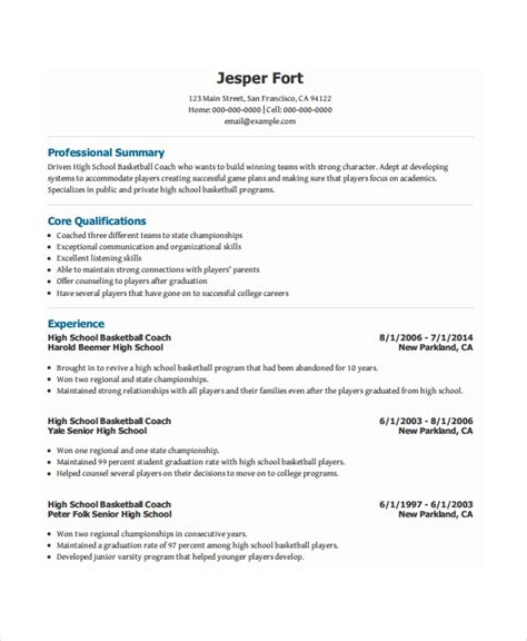 Basketball Coach Resume Sle by Coach Resume Template 8 Free Word Pdf Document