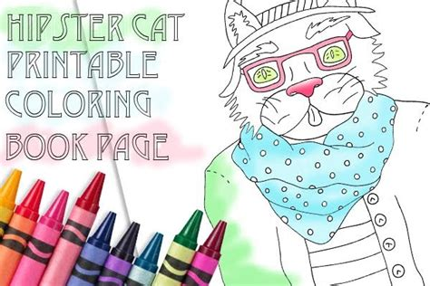 A Hipster Cat Coloring Page
