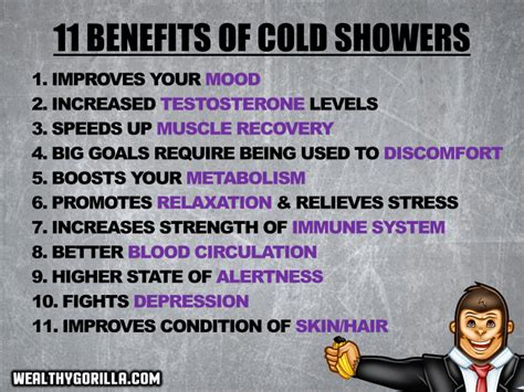 Benefits Of Cold Showers by 11 Benefits Of Cold Showers You Can T Miss Wealthy Gorilla