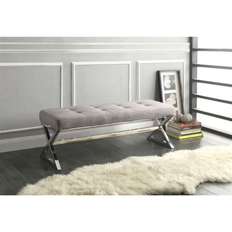 modern living room metal bench  button tufted grey