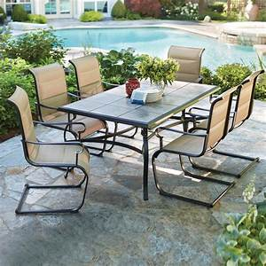 Hampton bay belleville 7 piece padded sling outdoor dining for Outdoor patio dining sets