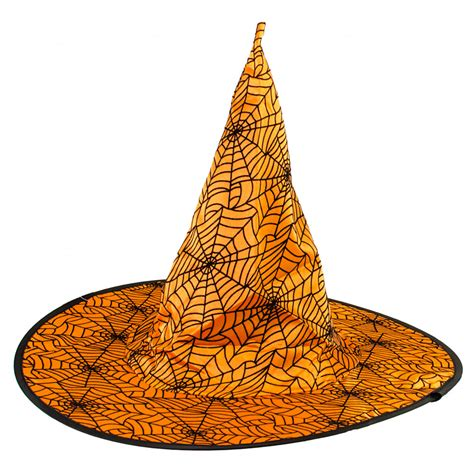 orange witch hat 14 quot satin spider web witch hat orange black hh728720