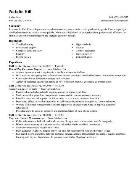 exle of resume for call center call center representative resume exle customer service sle resumes livecareer