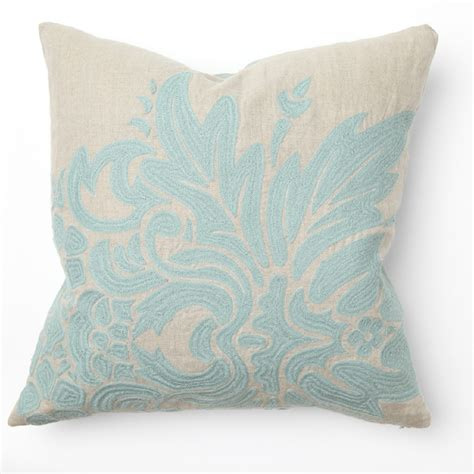 aqua throw pillows flora turquoise embroidery throw pillow by villa home