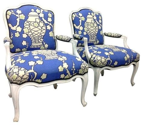 style arm blue chairs in chinoiserie print modern