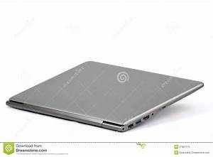 Closed Lightweight Silver Laptop Computer Isolated Royalty ...
