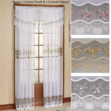 embroidered curtain panels vintage embroidered macrame semi sheer window treatment