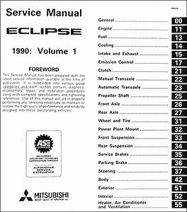 1990 Mitsubishi Eclipse Shop Manual 2 Volume Set Gs Gsx Original Repair Service