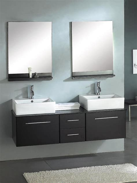 Houzz Bathroom Vanities Modern by Ariel X 002 Mirage 60 Wall Mounted Dual Bathroom Vanity