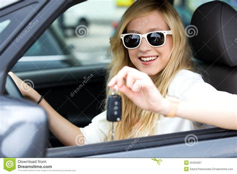 girl showing car key royalty  stock photography