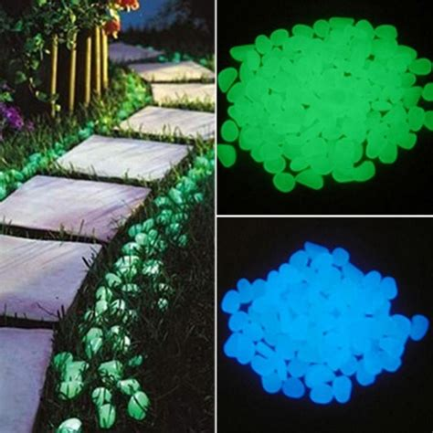 pcs glow   dark garden pebbles glow stones rocks