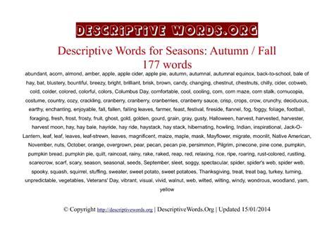 Descriptive Words For Autumn Fall  Descriptive Words List