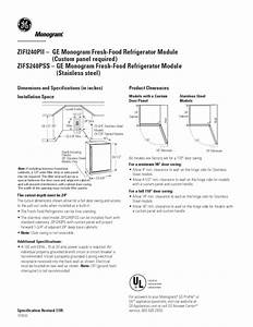 Ge Monogram Zifs240plss Manuals