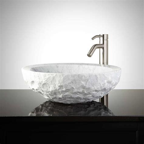 Round Handchiseled Marble Vessel Sink Bathroom