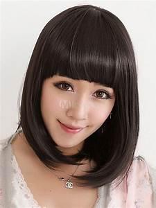 Black Kanekalon Blunt Fringe Fashion Hair Short Wig For ...